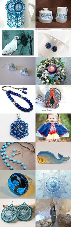 Shades of Blue by Debbie and John on Etsy #handmade #lacwe #blue #jewelry #gifts #vintage #photography #toys