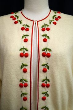 Vintage 50s Sweater // 1950s Ivory Wool Sweater with 3D Cherries & Stems // Cherries and Cream B40 plus on Etsy, $88.00