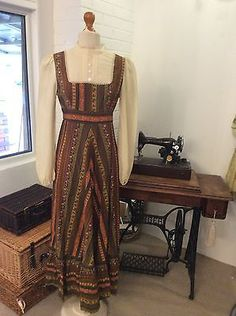 1970s-Bo-Ho-chic-Hippie-Vintage-Festival-dress-long-sleeved-Maxi-High-collar.....Don't miss out!! Find this on my ebay shop........... http://stores.ebay.co.uk/Karens-Vintage-Point