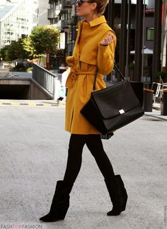 Black and yellow.  Love the peacoat!