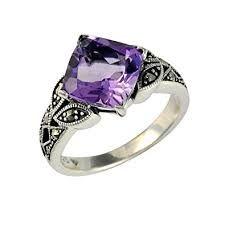 Esse Marcasite Ring aus Sterlingsilber, mit schwarzem Amethyst und Markasit, Jugendstil