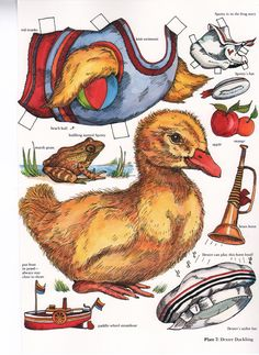 Duck paper doll by Evelyn Gathings