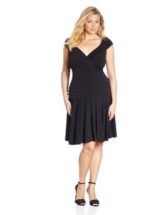 Fashion Bug Womens Plus-Size Cap Sleeve Dropped Waist Full Skirt Dress www.fashionbug.us