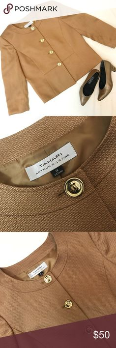 TAHARI ASL BLOCK BLAZER W/GOLD BUTTONS Beautiful Tahari ASL Gold block blazer with gold buttons. Excellent condition. Used once. Busy measures 41, length is 23. Tahari Jackets & Coats Blazers