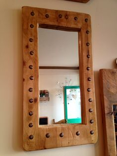 Studded mirror frame , waxed x Reclaimed Wood Frames, Reclaimed Timber, Handmade Wooden, Handmade Items, Timber Furniture, Wax, South Yorkshire, Bobs, Mirrors