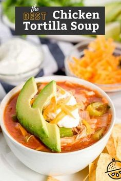 This Chicken Tortilla Soup recipe is loaded with shredded chicken, vegetables, tortilla strips and spices in a tasty tomato broth. This hearty Tortilla Soup recipe is the absolute best! #recipe #soup #Mexican #chicken #easy #healthy #lemonblossoms Chowder Recipes, Soup Recipes, Chicken Recipes, Best Chicken Tortilla Soup, Easy Restaurant, Mexican Chicken, Party Food And Drinks, Soup And Sandwich, Recipes