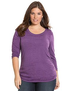 Flattering shirring remakes the classic scoop neck tee into a fashion must-have. 3/4 sleeves. lanebryant.com