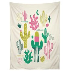 Cactus tapestry perfect for a small space. Design by artist Zoe Wodarz available at DENY Designs.