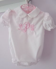 Monogrammed Girls Baby Romper Embroidered by Sewcialcharm on Etsy