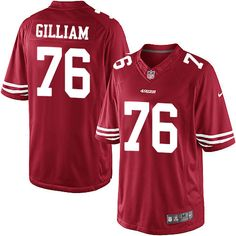 Youth Nike San Francisco 49ers #76 Garry Gilliam Limited Red Team Color NFL Jersey