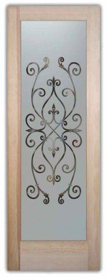 Etched Glass Door Ironwork Design Corazones