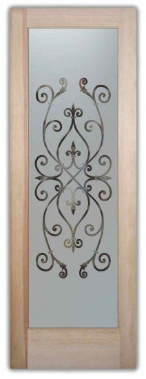 Etched Glass Door Ironwork Design Corazones