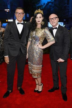 Domenico Dolce and Stefano Gabbana  with Katy Perry on the red carpet at the 2013 #METgala #dolcegabbana