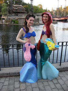 The Little Mermaid Ariel and Aquata Costume cosplay with Flounder and Mr. Fuzzyfinkle. Mickey's Halloween Party, Disneyland.