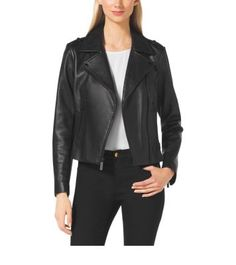 A sleek silhouette fuses with sumptuous leather in this perfect moto jacket. Designed with classic utility details like slim notched lapels and luxe zippers, this style is a perennial must-have. Add edge to a tailored skirt during the workweek  or pair it with mini skirts, skinny denim and more for a night out.