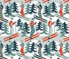 pin-ups on the slopes fabric by kociara on Spoonflower - custom fabric