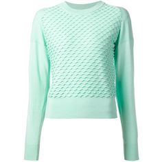 3.1 Phillip Lim wavy knit stitch sweater (44.140 RUB) ❤ liked on Polyvore featuring tops, sweaters, shirts, jumpers, outerwear, green, green shirt, green crew neck sweater, shirt sweater and crew neck shirt