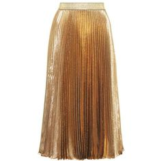 Christopher Kane Pleated Silk-Blend Skirt ($1,005) ❤ liked on Polyvore featuring skirts, bottoms, gold, pleated skirt, brown skirt, knee length pleated skirt, pleated skirts and christopher kane