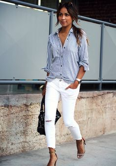 naimabarcelona: Sincerelyjules #summerstaples #stripes #whitejeans #summerchic