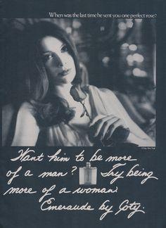 1971 Coty Perfume Ad Emeraude Fragrance More of a Woman Vintage Advertisement Print Bathroom Vanity Wall Art Decor