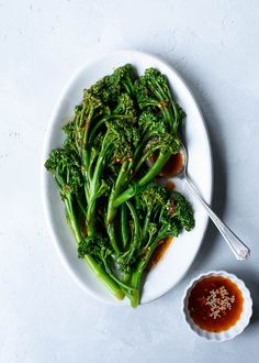 Spicy Sesame Garlic Broccolini - a quick & easy side dish that's great alongside salmon, chicken or tofu! / via forkknifeswoon.com