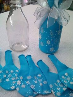 DIY Centerpieces (made with decorative balloons, bottles and ribbons) The…