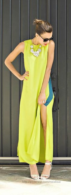 Comfy Summer Style: Stunning oriental inspired ThisisGenevieve.com Maxi Dress in lime green with blocking coloured indigo blue side splits, with Statement Necklace from  J Crew and  Lulu's.Silver Heels