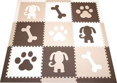 New! SoftTiles Puppy Dog Theme 9 Piece Set with Borders. Brown, White, and Tan. This color set works great with neutral color decor.