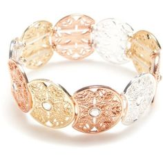 Red Camel Multi Tri-Tone Fall Festival Stretch Bracelet ($13) ❤ liked on Polyvore featuring jewelry, bracelets, multi, stretch jewelry, rock jewelry and red camel