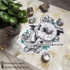 Trash polka skull flowers roses geometric sketch tattoo illustration