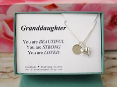 Gift for Granddaughter sterling silver necklace by SilverStamped