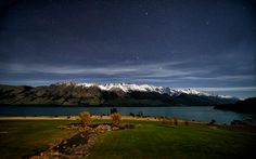 """""""Silent Night"""" -- #wallpaper by """"Dominic Kamp"""" from http://interfacelift.com -- Taken on a night with a full moon at Lake Wakatipu, near Queenstown, New Zealand. The view was crystal clear and very bright. So I went for a 30-second long exposure, ISO 400 at f/2.8. Made it almost look like daylight..."""