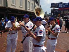 Brass band playing outside Wrigley Field