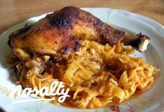 Sült csirkecomb káposztaágyon | Nosalty Pork, Healthy Recipes, Meat, Chicken, Kale Stir Fry, Healthy Eating Recipes, Healthy Food Recipes, Clean Eating Recipes, Pork Chops