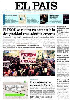 Los Titulares y Portadas de Noticias Destacadas Españolas del 10 de Noviembre de 2013 del Diario El País ¿Que le pareció esta Portada de este Diario Español?
