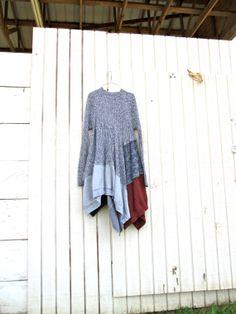 boho lagenlook romantic knit dress / Upcycled by CreoleSha on Etsy, $95.00