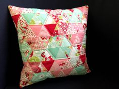 Triangle patchwork Cushion cover in pink & mint