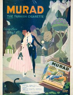 1917 Art Deco ad for Murad Cigarettes. This company always did such an amazing job on their advertising!