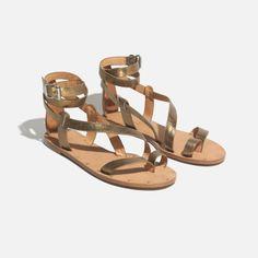 madewell allie gladiator sandal in metallic