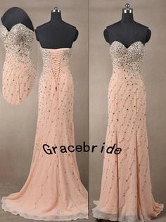 amazing blush chiffon gowns long prom dresses with unique handmade rhinestones sweep train sweetheart wedding dresses for evening party on Etsy, $258.00