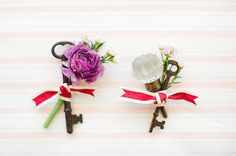 skeleton key boutonniere. LOVE this but with different ribbon and florals but definitely the use of a key