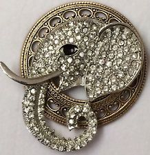 "LARGE Stamped Brass Vintage Style~""JEWELED CRYSTAL ELEPHANT PIC BUTTON~ 2"" INCH"
