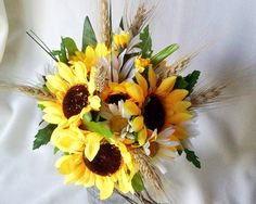 Sunflower Bridal Bouquet Country Twine Wrap Daisies Wheat accents Silk Wedding Flowers. $85.00, via Etsy.