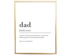 Dad Definition Print Funny Gift For Dad Gift For Father Gift Dad Printable Dad Print Fathers Day Print Funny Definition Printable JPEG