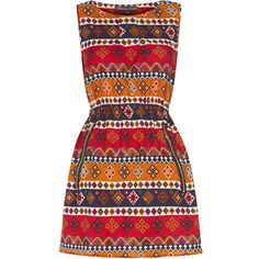 Mela Red Tribal Print Zip Dress ($28) found on Polyvore featuring dresses, vestidos, short dresses, red evening dresses, special occasion dresses, evening cocktail dresses, cocktail mini dress and holiday dresses