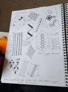 A little combination of patterns I am known to draw.  Classroom Doodles. Pen on Paper.