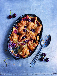 Cherry Croissant Pudding ~ with Kirsch liqueur | from the cookbook 'Paul Hollywood's Pies & Puds' via PaulHollywood.com