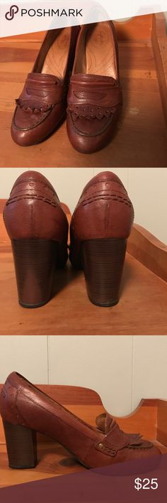 Clarks loafer style heel These are super adorable! Good condition. Sad to get rid of them just don't wear them anymore. Got a new job that I can wear casual shoes. Price is firm. Clarks Shoes Heels