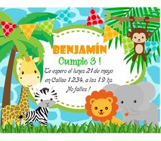 Kit Imprimible Animalitos De La Selva Invitaciones Candy Bar - $ 44,99 en Mercado Libre