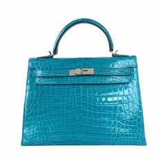 Hermes Kelly 28 Bag in Lake Blue with Silver buckle and eShiny (Lisse) Alligator Popular Purses, Designer Bags, Hermes Kelly, Purses And Bags, Silver, Blue, Stuff To Buy, Smooth, Couture Bags